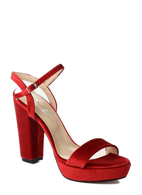 Bambi Kalın Topuklu Kadife Ayakkabı Kırmızı
